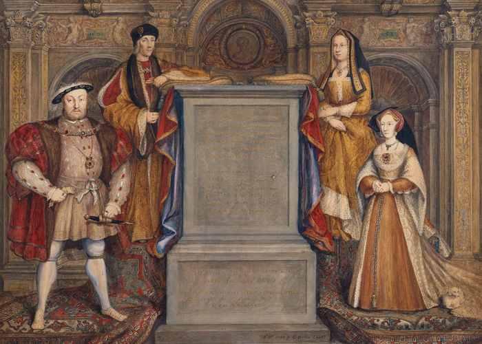 Генрих VIII (слева), его третья жена Джейн Сеймур (справа). За ними стоят родители Генриха, Генрих VII и Елизавета Йорк.
